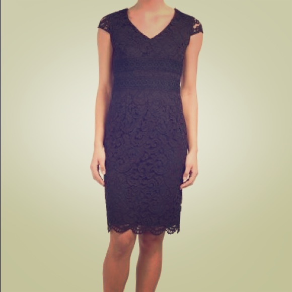 b0f54cb38356 Tahari Dresses | Asl Black Lace V Neck Terry Dress | Poshmark